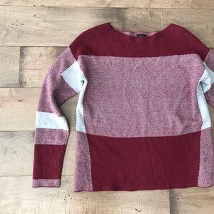 Fate Wool Geometric Print Long Sleeve Sweater Red